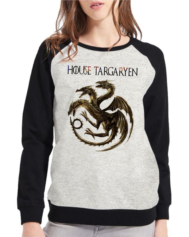 Moletom Raglan Feminino Mescla Game Of Thrones House Targaryen ES_179