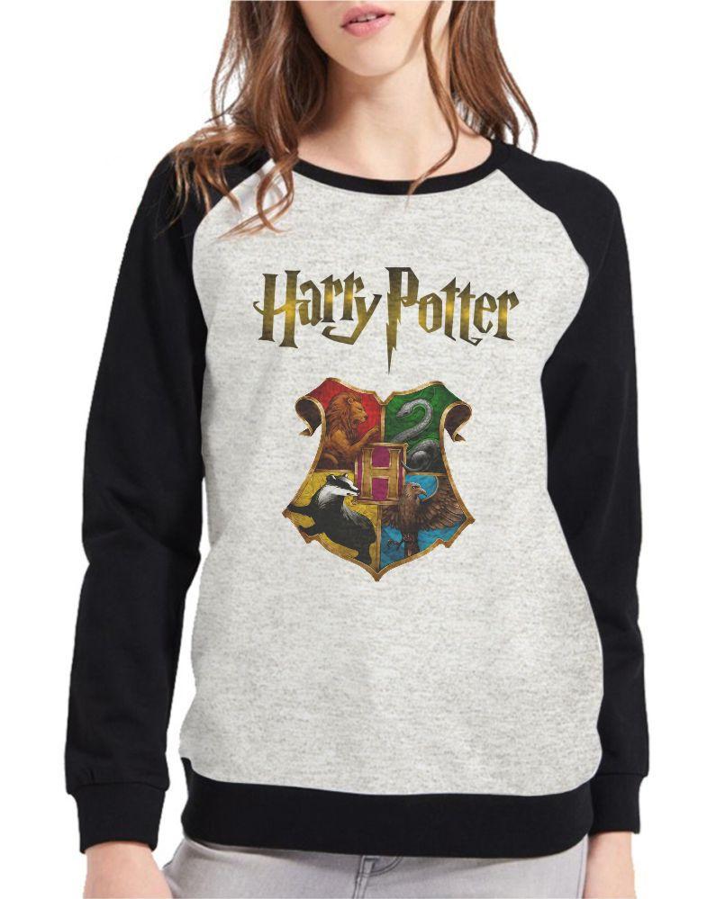 Moletom Raglan Feminino Mescla Harry Potter Hogwarts ES_133