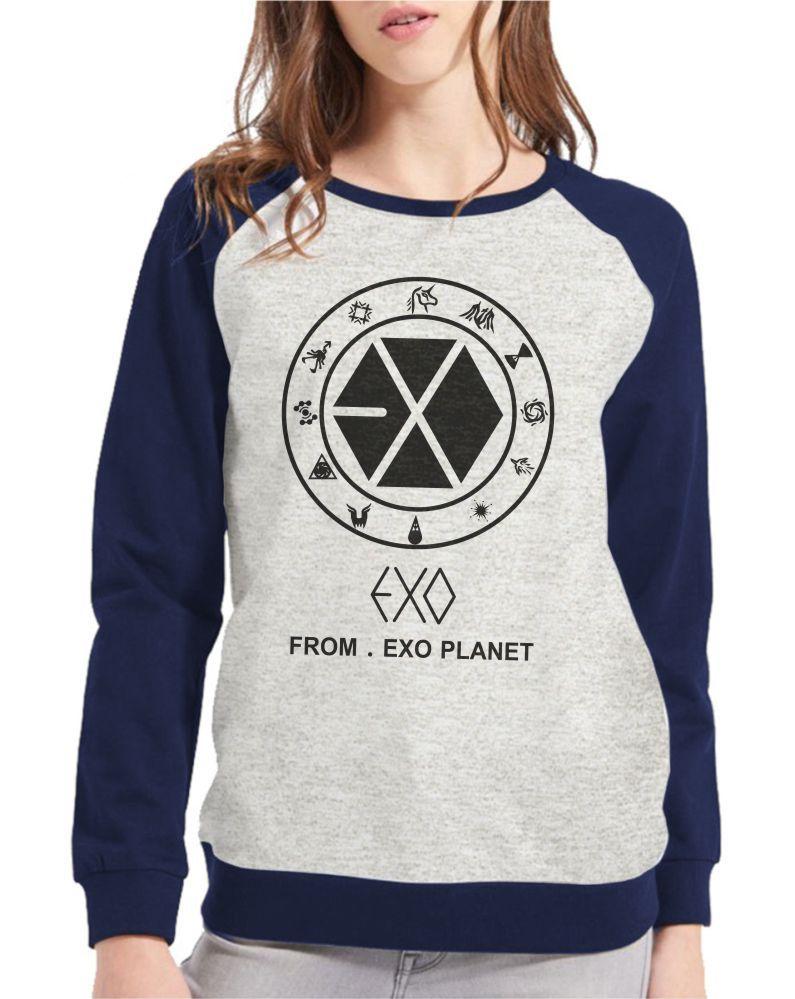 Moletom Raglan Feminino Mescla Kpop Exo From Exo Planet ES_102