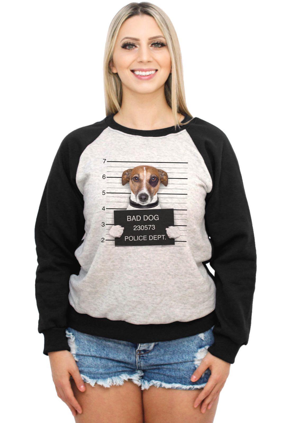 Moletom Raglan Feminino Mescla Pets Bad Dog ES_191