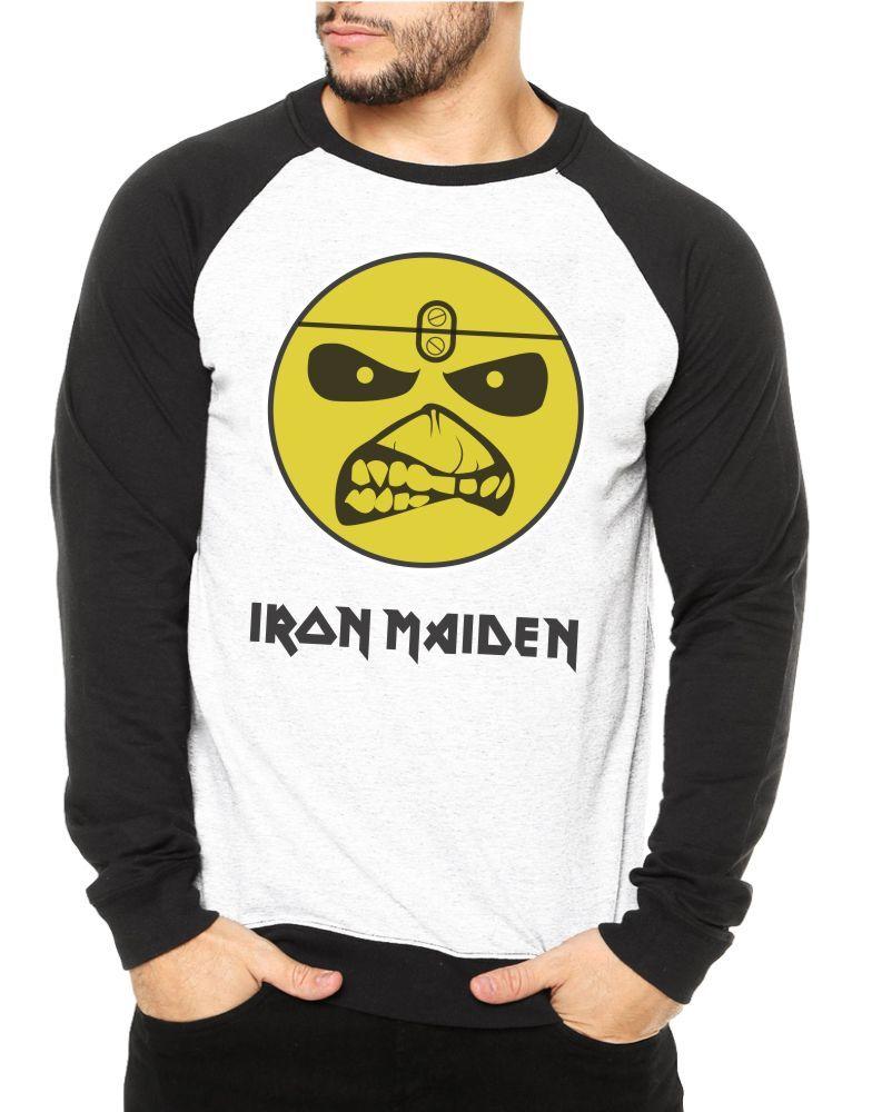 Moletom Raglan Masculino Iron Maiden Eddie Logo ES_039