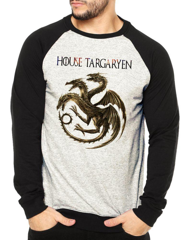 Moletom Raglan Masculino Mescla Game Of Thrones House Targaryen ES_179