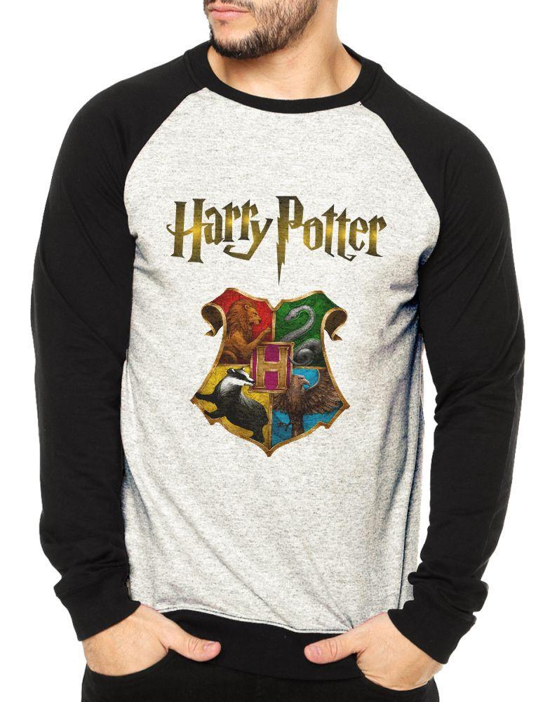 Moletom Raglan Masculino Mescla Harry Potter Hogwarts ES_133
