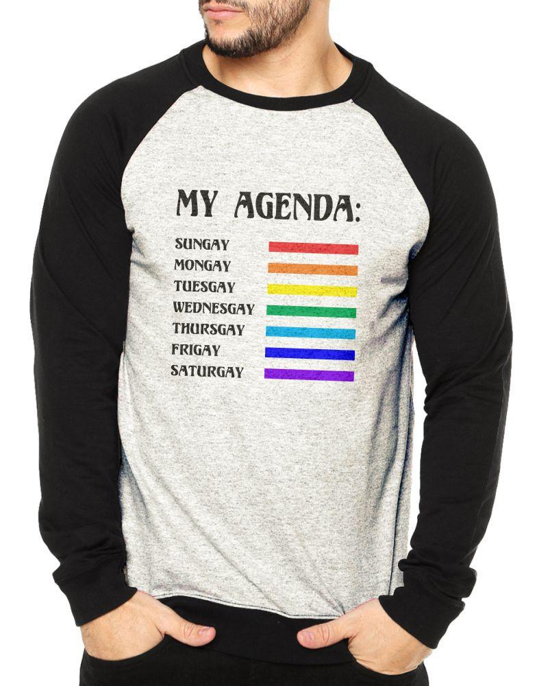 Moletom Raglan Masculino Mescla LGBT Agenda Gay ES_156