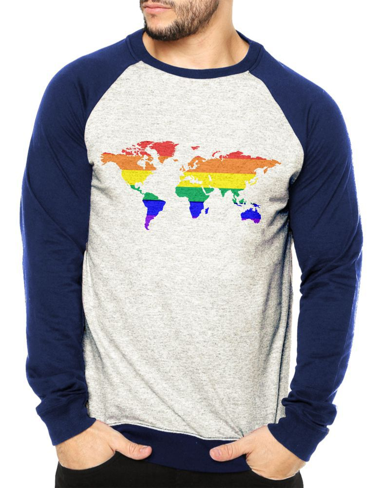 Moletom Raglan Masculino Mescla LGBT Mapa Orgulho Gay ES_155
