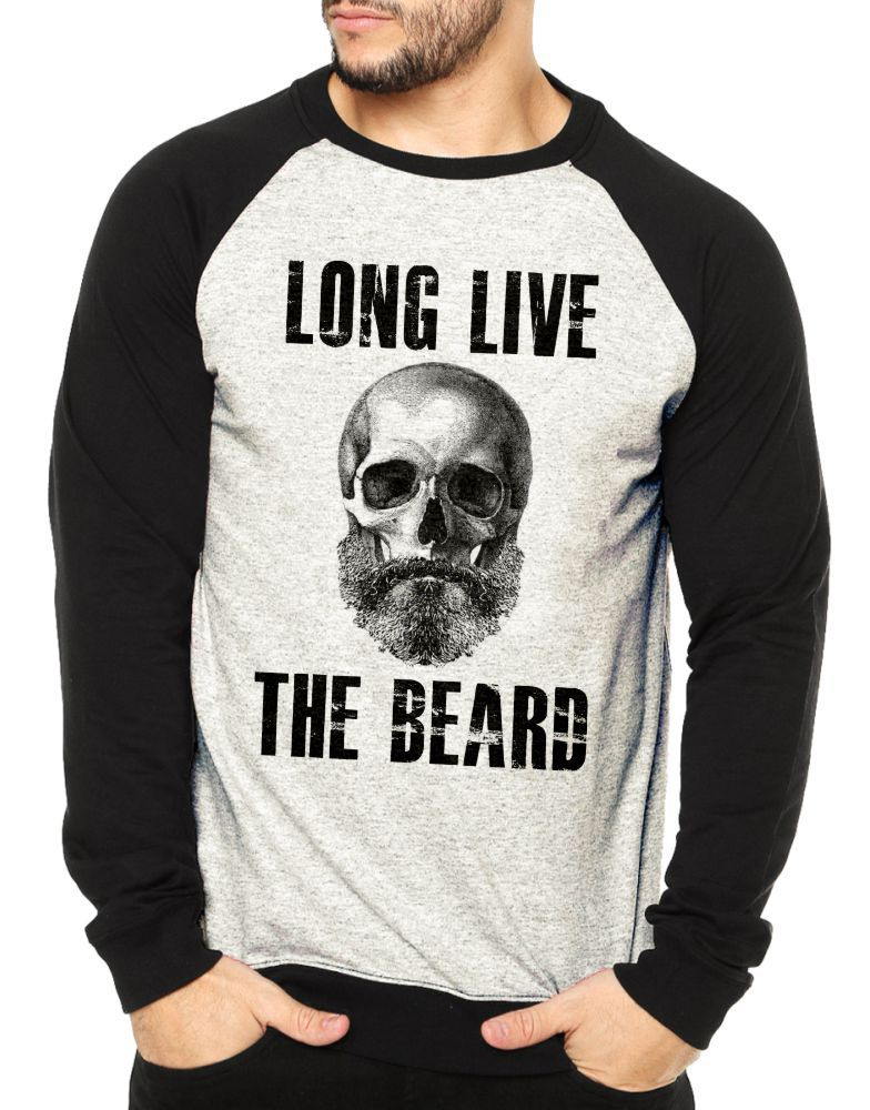 Moletom Raglan Masculino Mescla Long Live The Beard ES_207