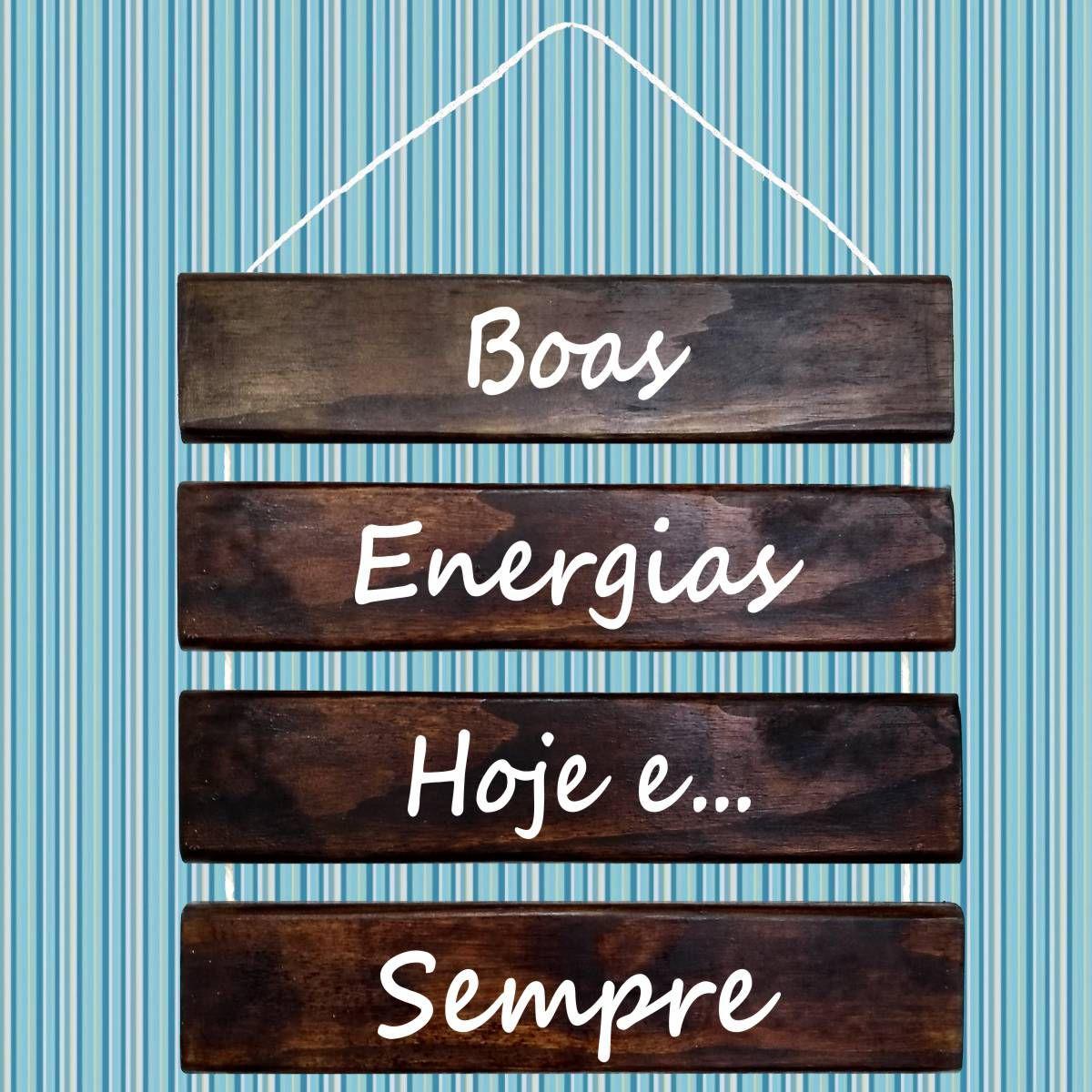 Placa Decorativa Madeira Rústica Corda Sisal Boas Energias Hoje e Sempre