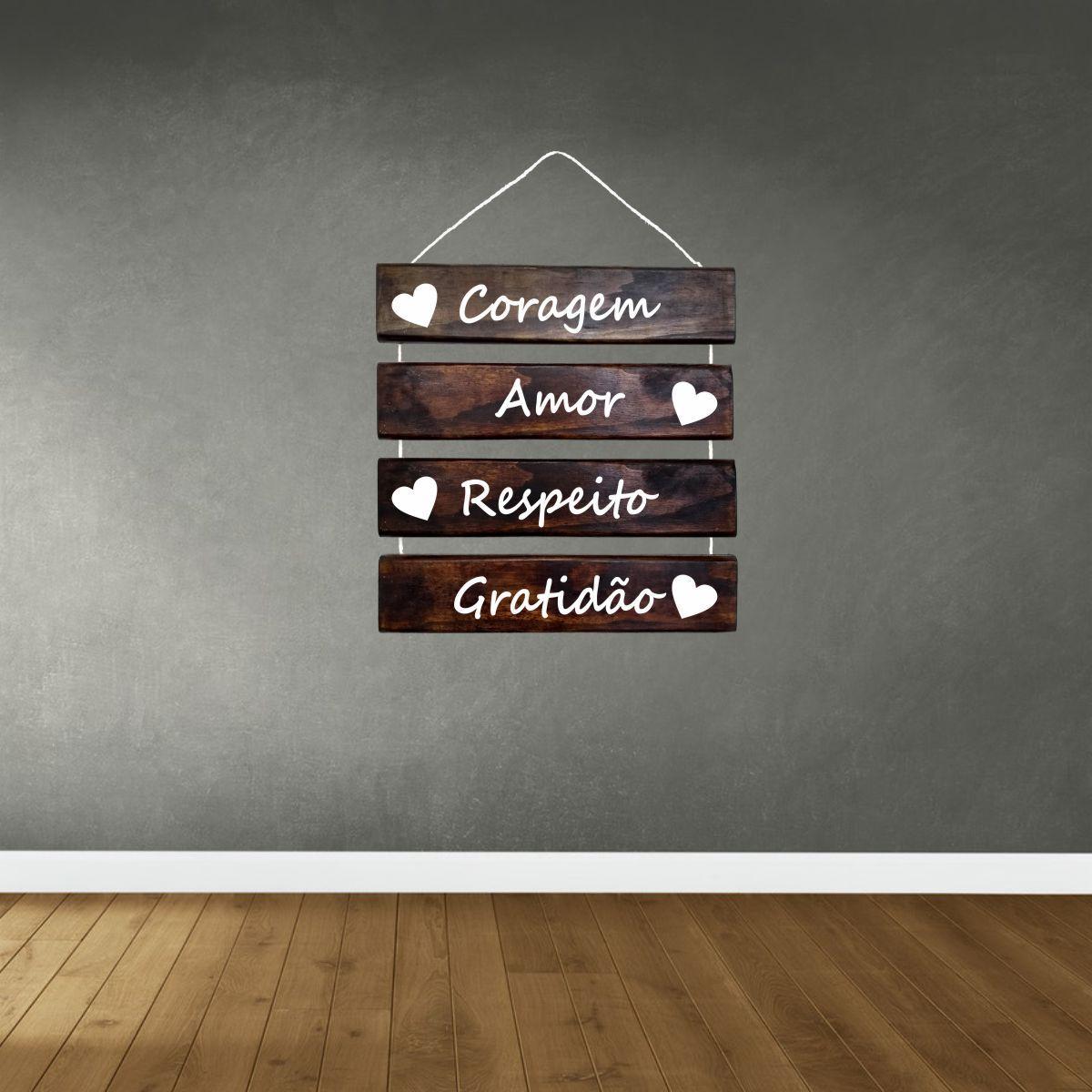 Placa Decorativa Madeira Rústica Corda Sisal Coragem Amor Respeito Gratidão