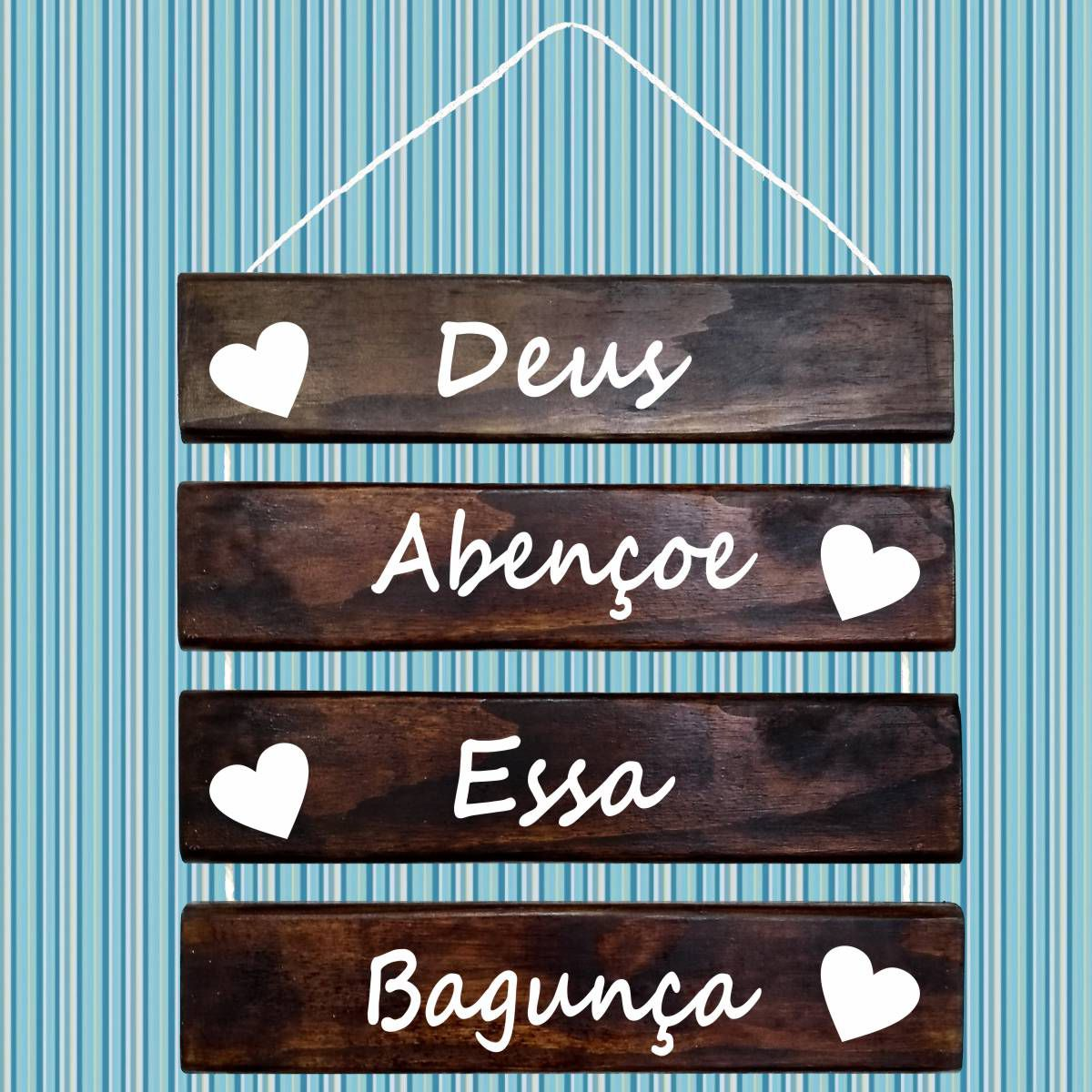 Placa Decorativa Madeira Rústica Corda Sisal Deus Abençoe Essa Bagunça