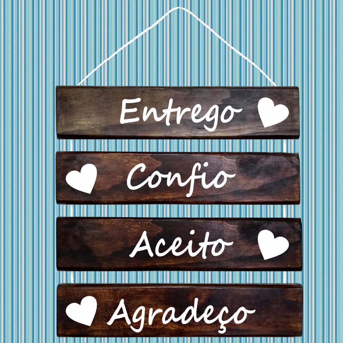 Placa Decorativa Madeira Rústica Corda Sisal Entrego Confio Aceito Agradeço