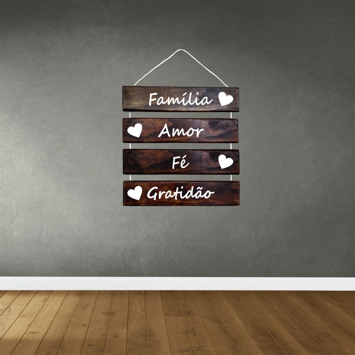 Placa Decorativa Madeira Rústica Corda Sisal Família Amor Fé Gratidão