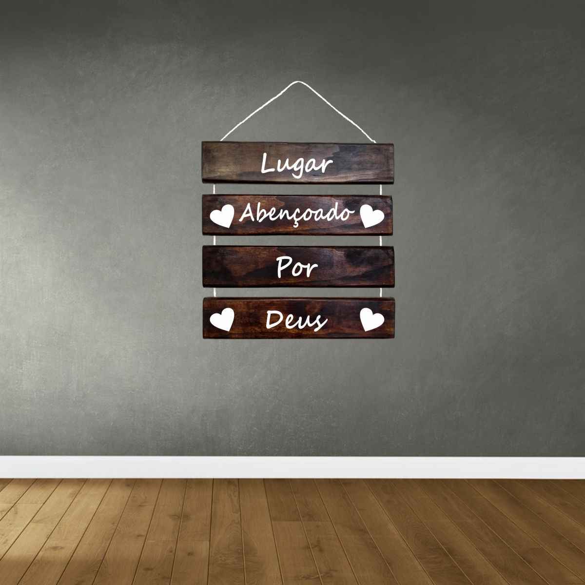Placa Decorativa Madeira Rústica Corda Sisal Lugar Abençoado Por Deus