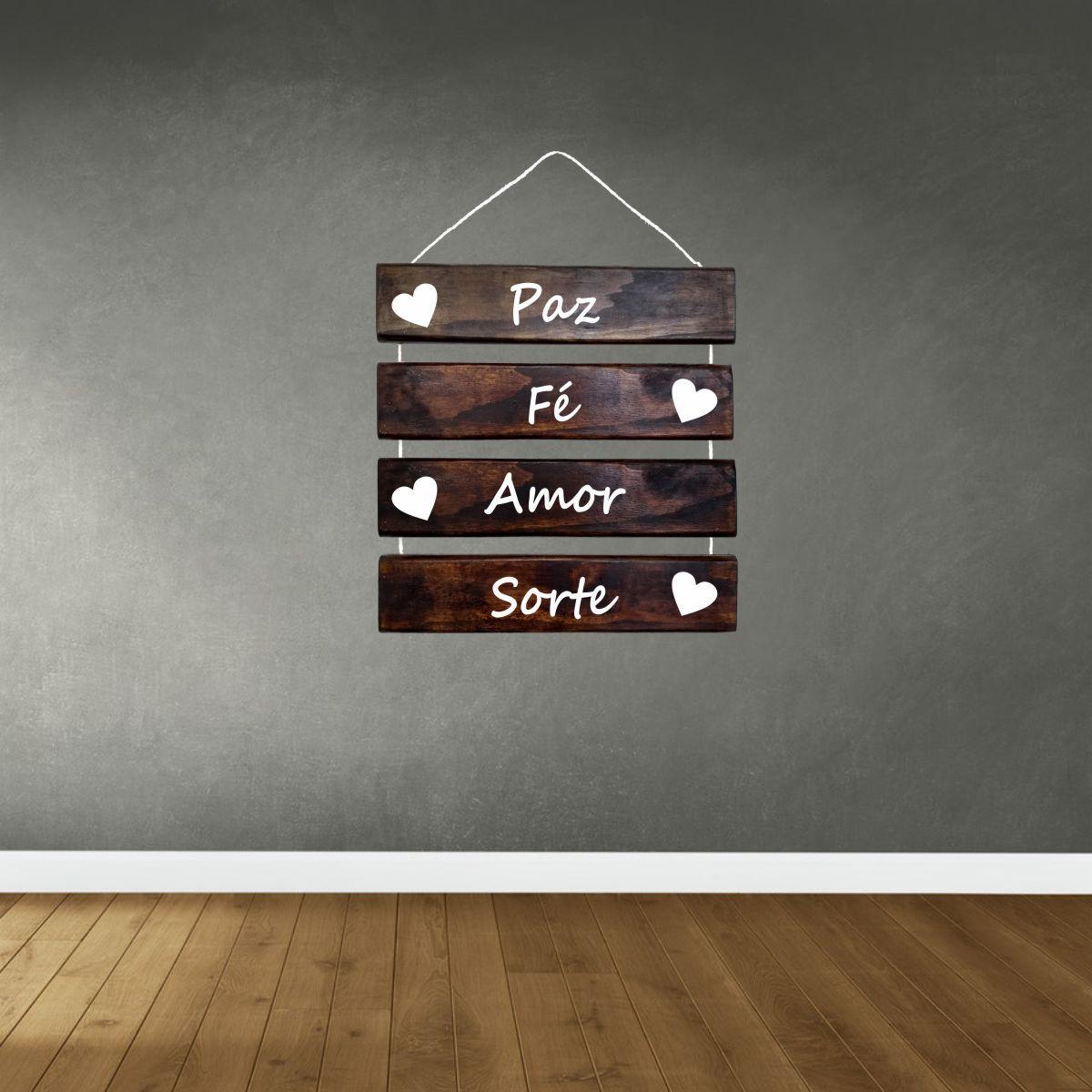 Placa Decorativa Madeira Rústica Corda Sisal Paz Fé Amor Sorte
