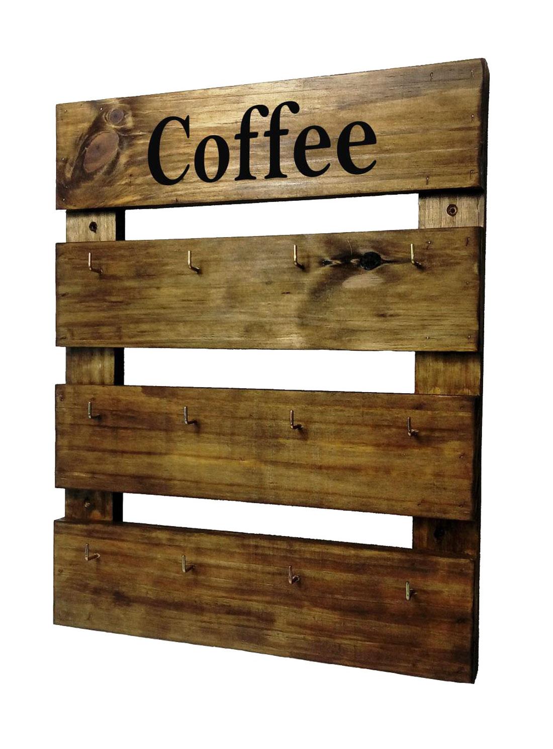 Porta Xícaras de Parede Madeira Rústica Canecas Coffee