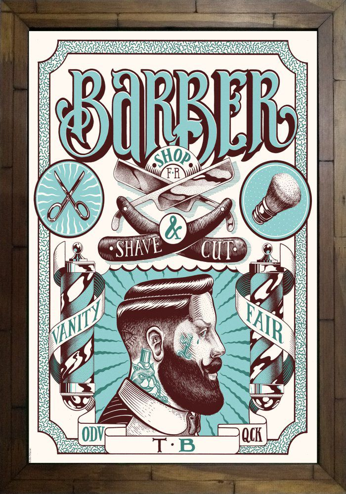 Quadro Decorativo Barbearia MDF 50 x 35 A003