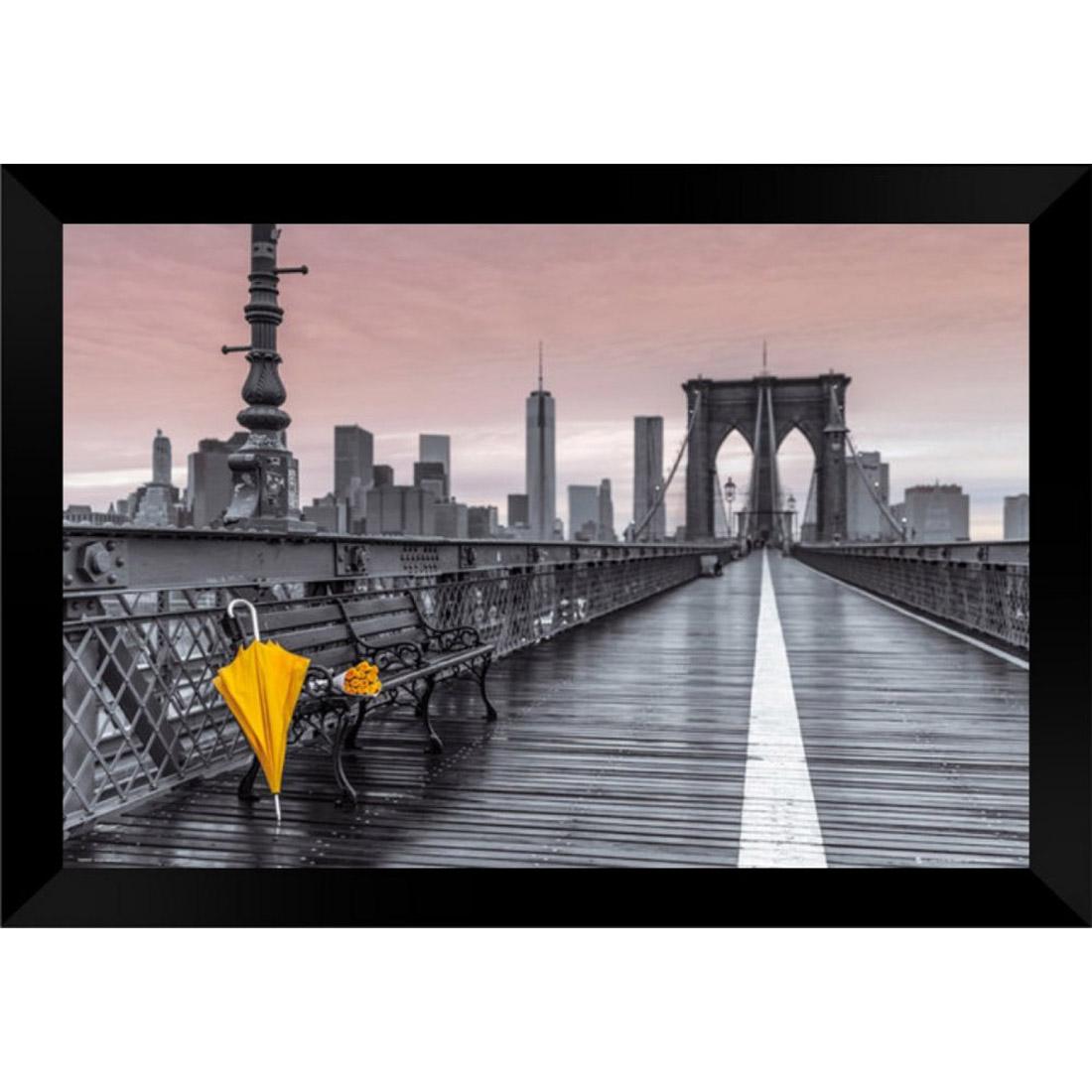 Quadro Decorativo Brooklyn Bridge Umbrella MDF 50 x 35 D048