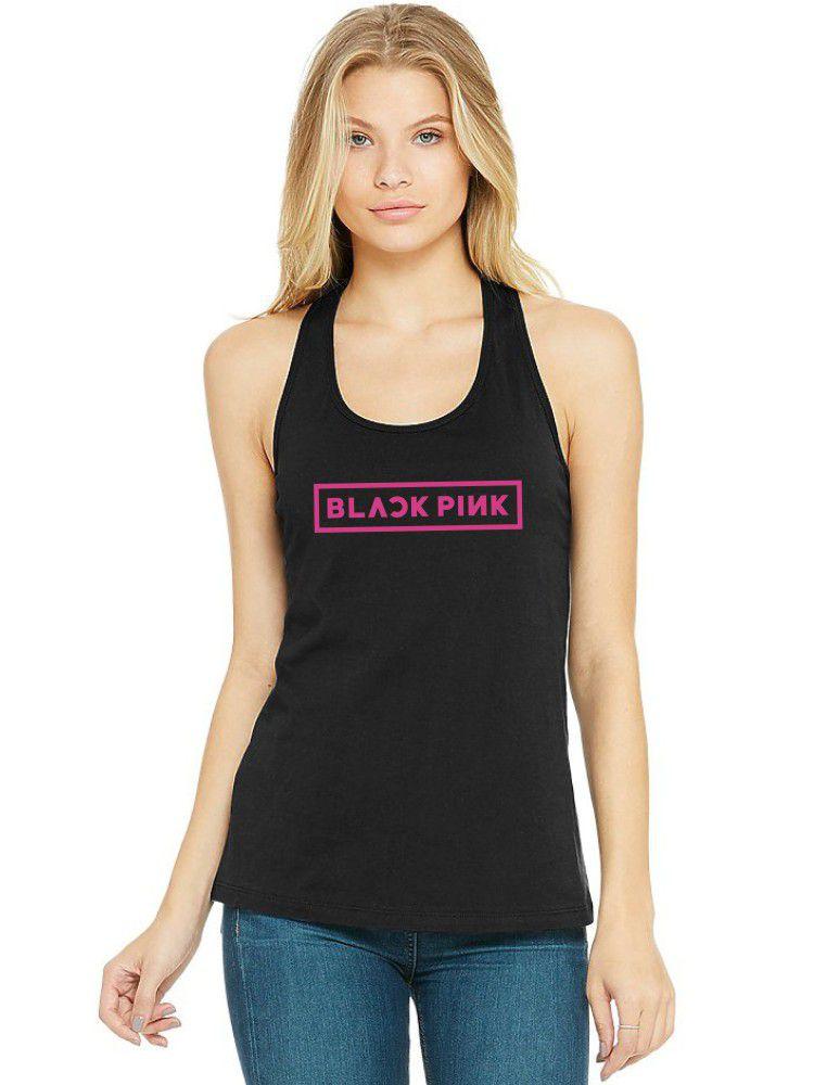 Regata Feminina Algodão Kpop Black Pink Logo ER_044