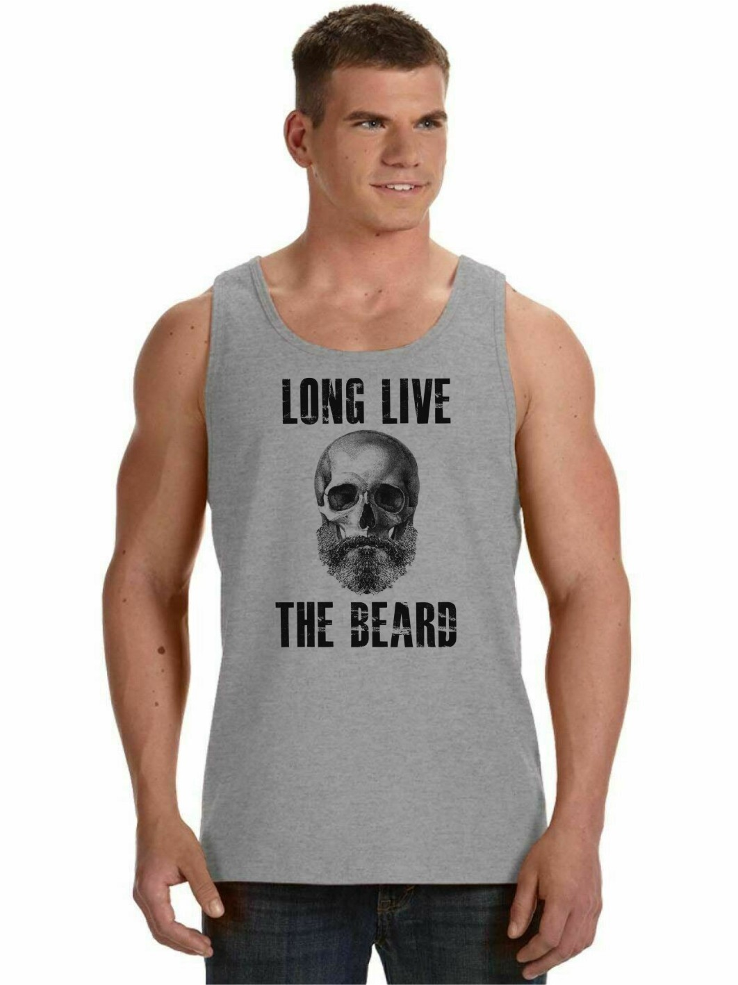Regata Masculina Long Live The Beard Caveira Barba ES_207