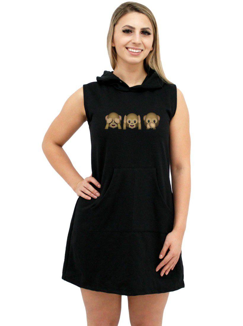 Vestido Moletom Canguru Feminino Divertido Emoji Macacos ER_139