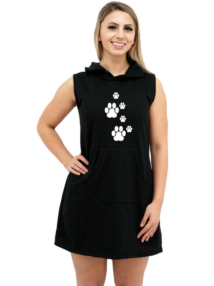 Vestido Moletom Canguru Feminino Divertido Patinhas Pegadas Pet ER_148