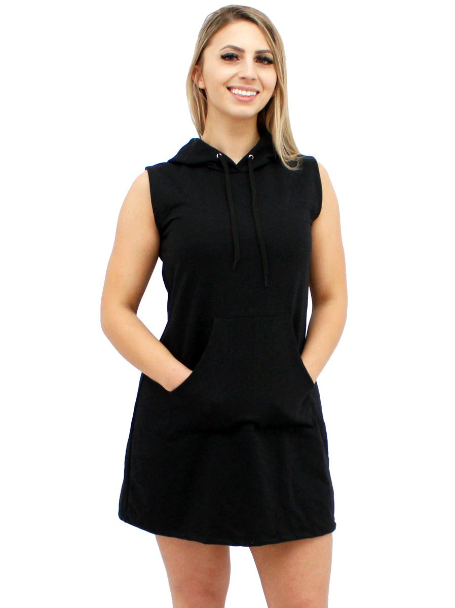 Vestido Moletom Canguru Feminino Preto