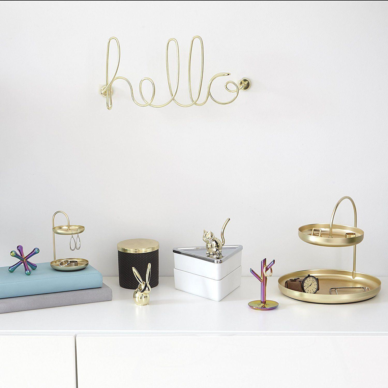 Adorno de Parede Hello Dourado - Umbra