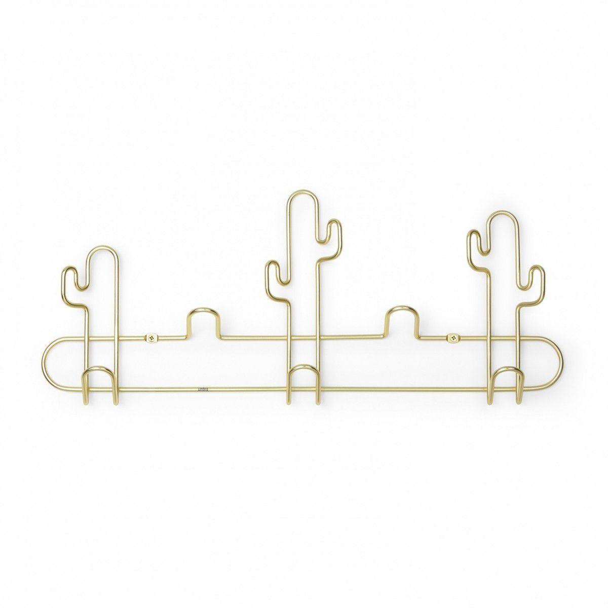 Cabideiro / Cabide de Parede 5 Ganchos Desert Cactos Dourado - Umbra