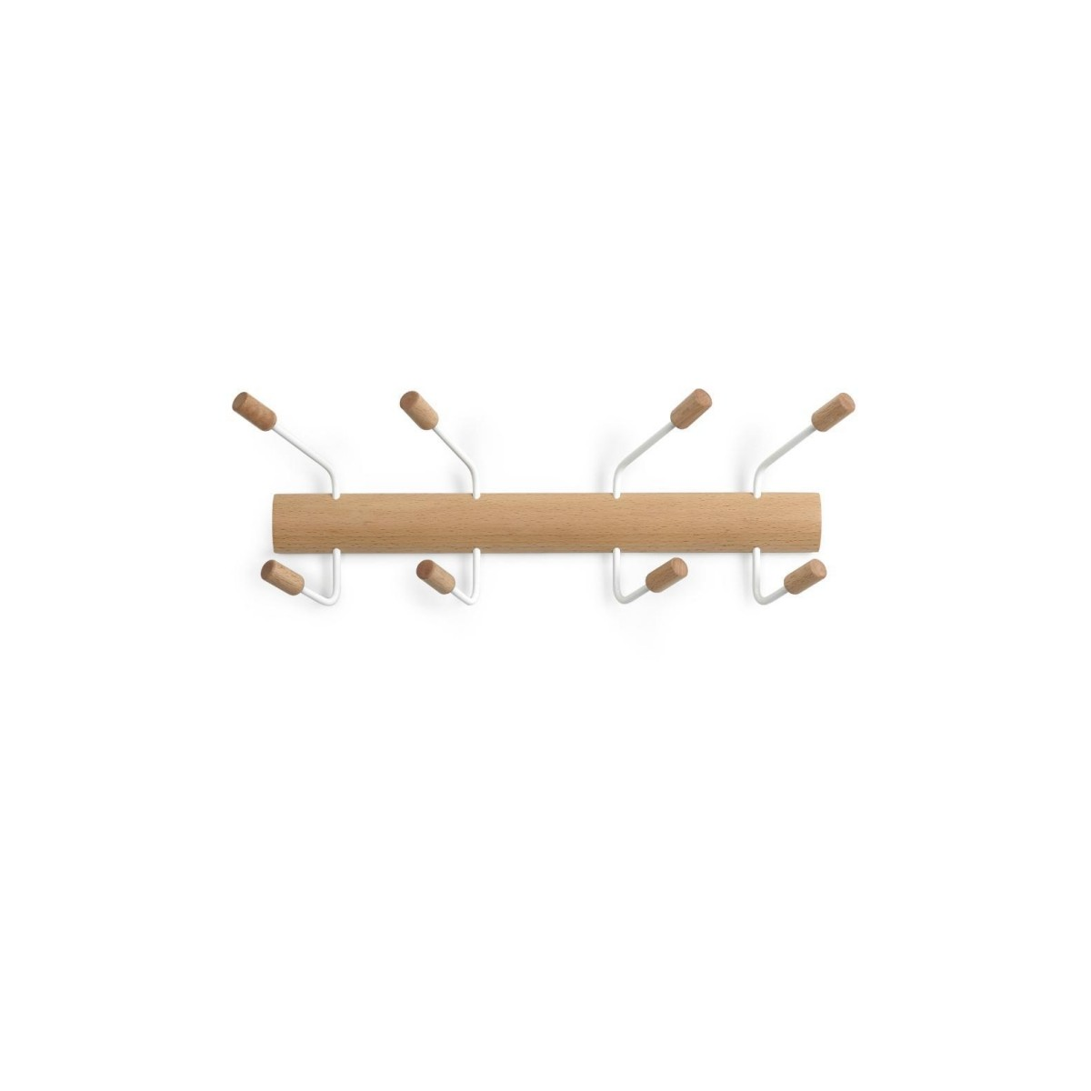 Cabideiro de Parede 8 Ganchos POGO - Natural / branco - Umbra