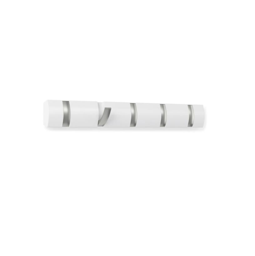 Cabideiro / Cabide de Parede 5 Ganchos Flip Branco / Prata - Umbra
