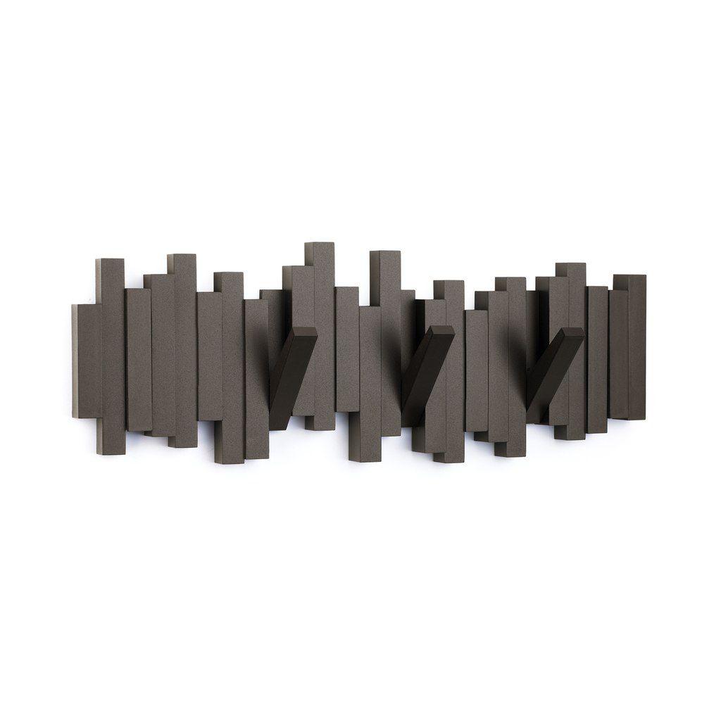 Cabideiro / Cabide de Parede 5 Ganchos Sticks - Preto - Umbra