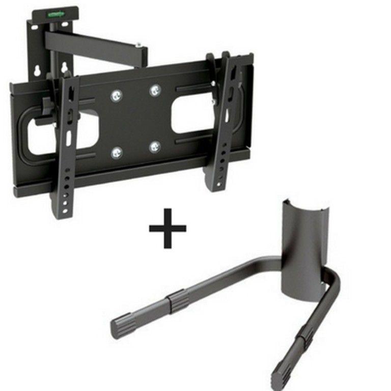 """Combo - Suporte Articulável para TV  LED / LCD / Plasma 32"""" + Suporte Multiuso FT-DVD10 Para DVD / Cadeira de Praia / Bicicleta - Fixatek"""