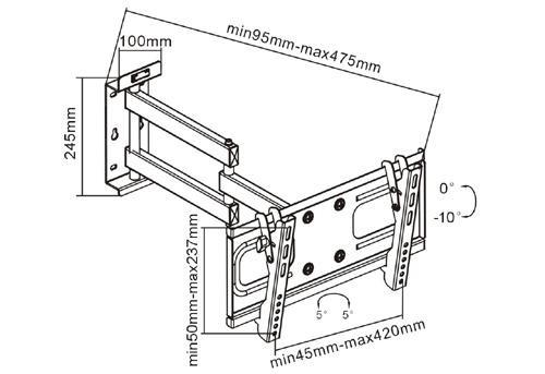 """Combo - Suporte Articulável para TV  LED/LCD/Plasma 32"""" + Suporte Multiuso FT-DVD10 Para DVD/Cadeira de Praia/Bicicleta - Fixatek"""