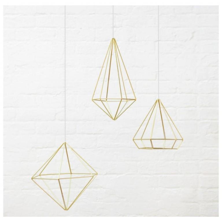 Conjunto de decoração Prisma Fosco Dourado - Umbra