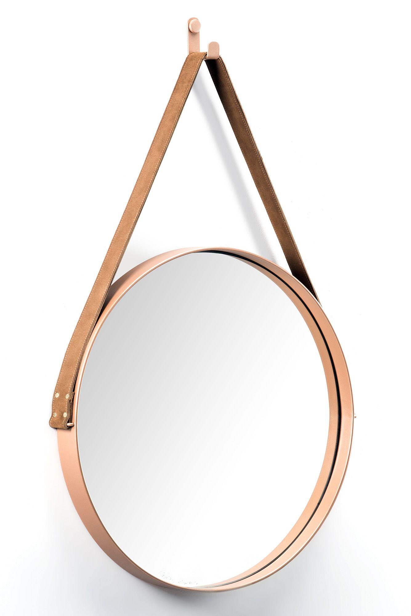 Espelho com Alça em Couro - Soluza