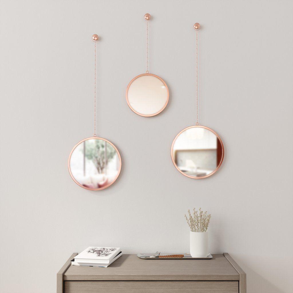 Espelho com Moldura Redondo Dima Cobre - Umbra
