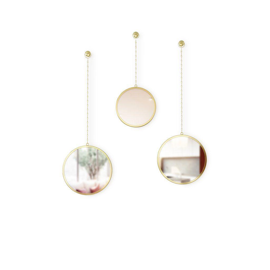 Espelho com Moldura Redondo Dima Dourado - Umbra
