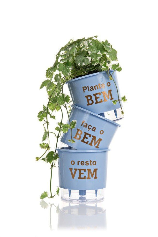"""Kit 3 Vasos Auto Irrigável """"Plante o Bem o Resto vem"""" - Azul"""