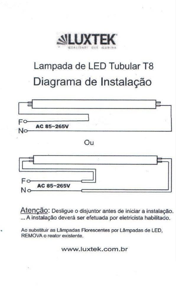 Lâmpada de LED Tubular T8 60cm 10W - LT-T8-6010W - Luxtek