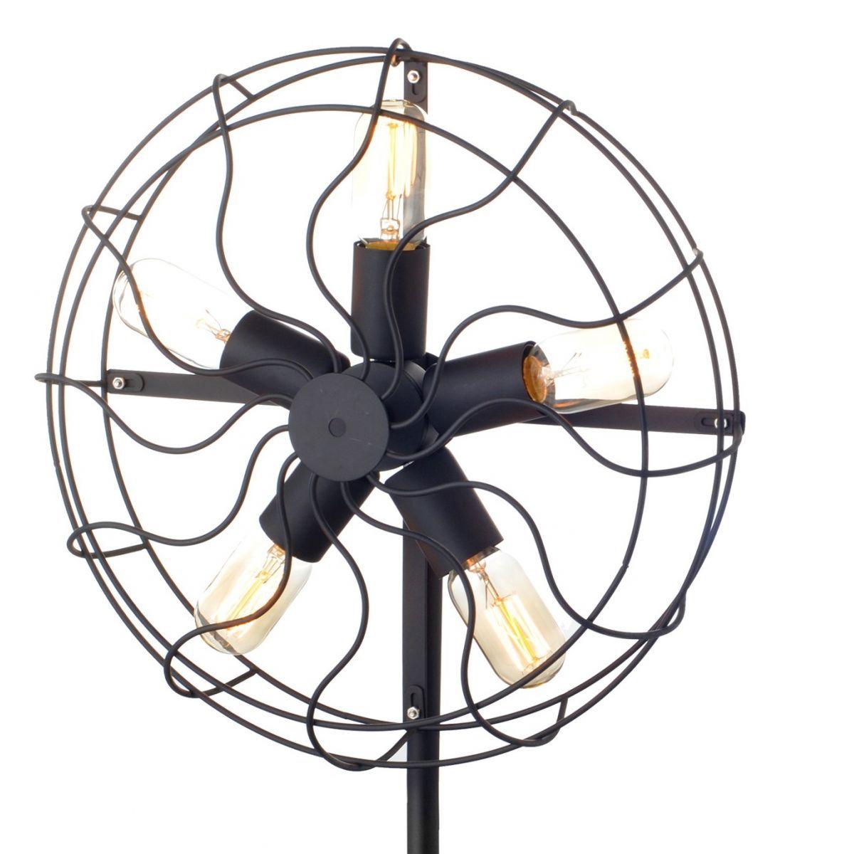 Luminária de chão Ventilador Vintage Retrô Preta Ref: Lt-271-Ch - Luxtek