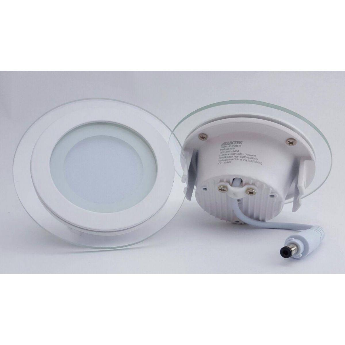 Luminária Plafon LED 12w de Vidro Embutir Branco Frio Redonda / Quadrada  - LUXTEK