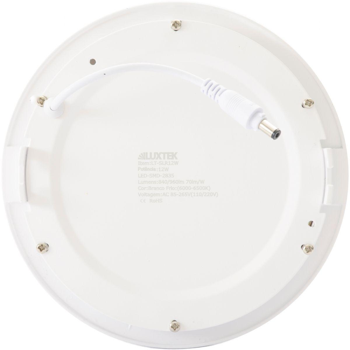 Luminária Plafon LED 12w Embutir Branco Frio Redonda - LUXTEK
