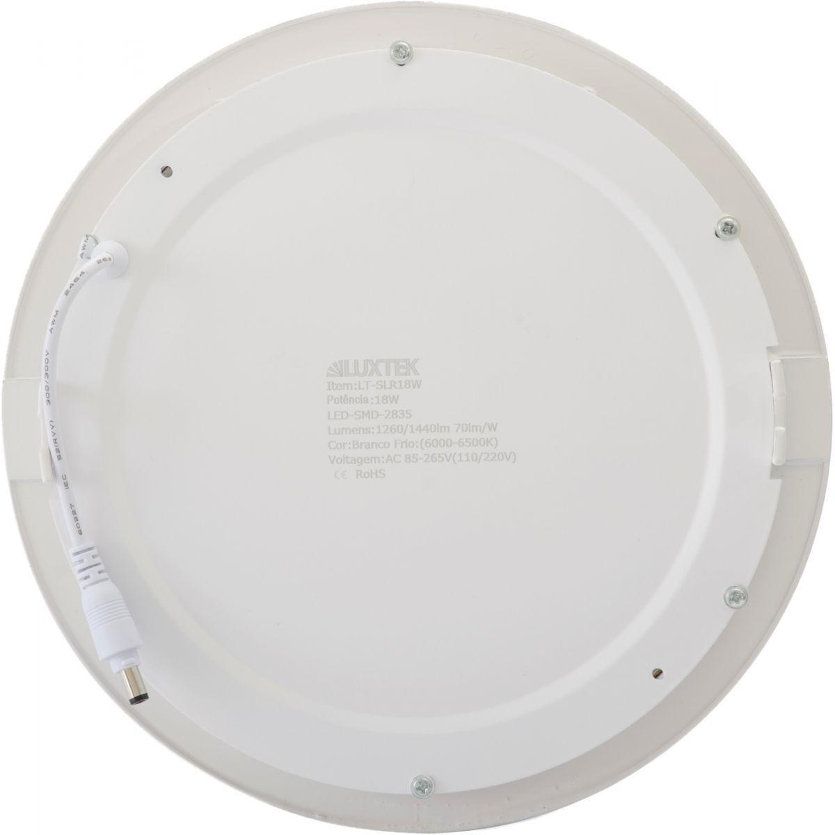 Luminária Plafon LED 18w Embutir Branco Frio Redonda - Luxtek