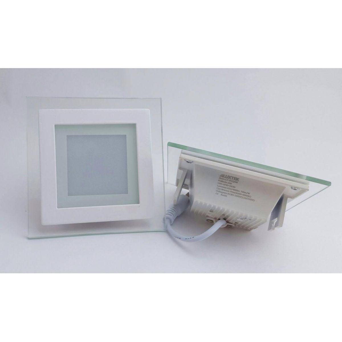 Luminária Plafon LED 16w de Vidro Embutir Branco Frio Redonda / Quadrada - LUXTEK