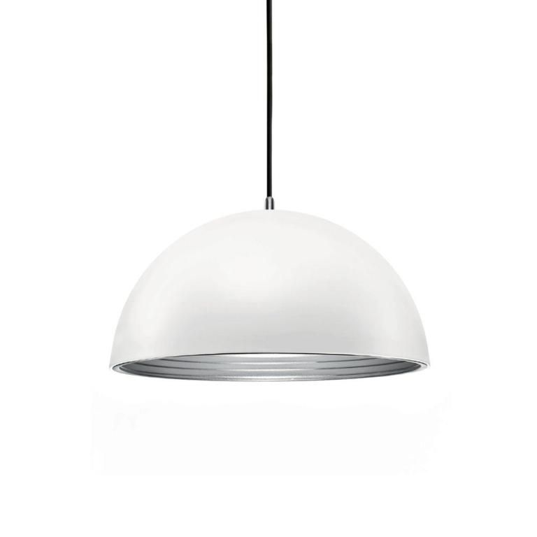 Luminária Pendente Alumínio Branco Fosco interior prateado Ref: Lt-731G-PT - Luxtek