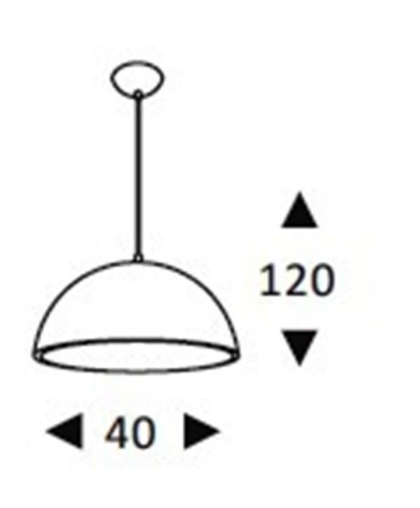 Luminária Pendente Alumínio Preto Fosco interior Dourado Ref: Lt-731G-BR