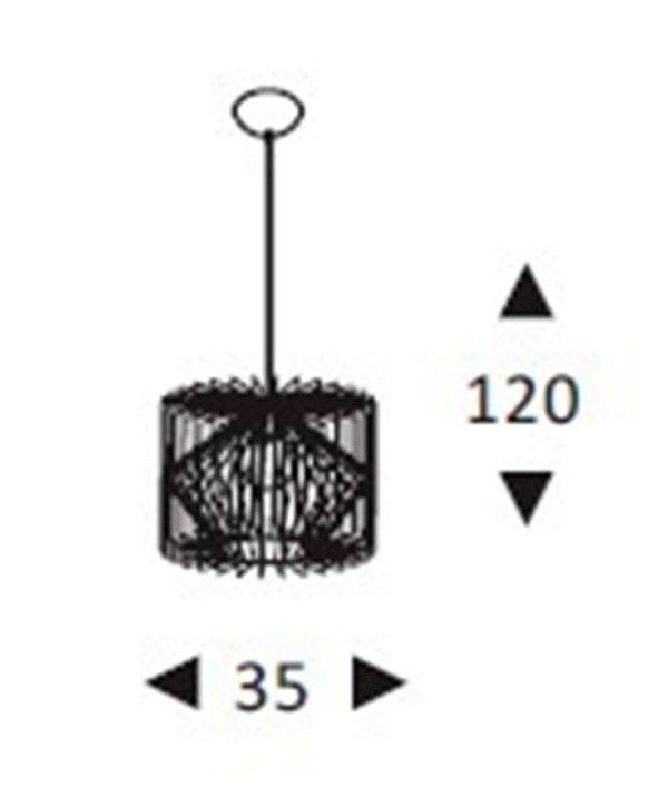 Luminária Pendente Aramado Grande Preto Ref: Lt-301-G - Luxtek