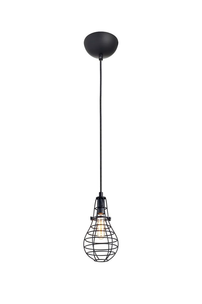 Luminária Pendente Aramado  Lamp Grande Preto Ref: Lt-166 - Luxtek