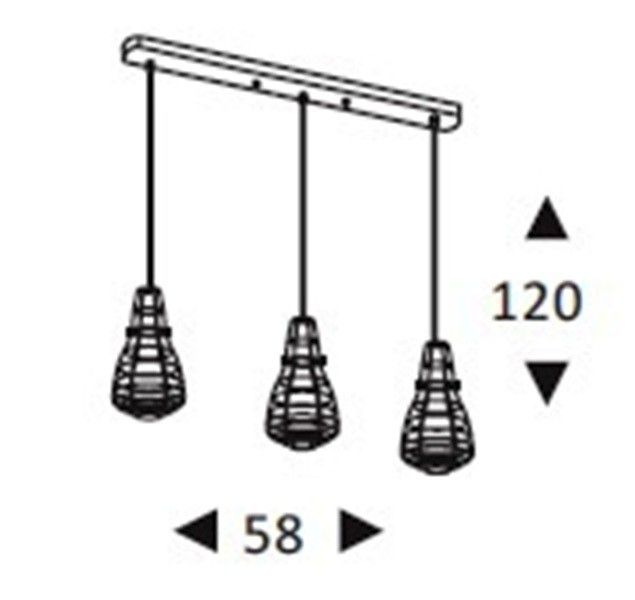 Luminária Pendente Aramado  Lamp TRIO Linear Preto Ref: Lt-166-L - Luxtek