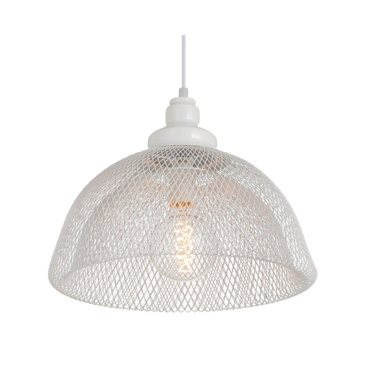 Luminária Pendente Aramado Renda Cupi Branca Ref: Lt-171A-Br - Luxtek