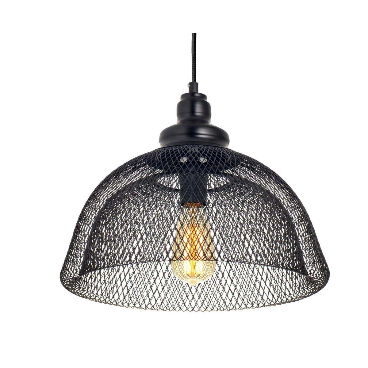 Luminária Pendente Aramado Renda Cupi Preta Ref: Lt-171A-Pt - Luxtek